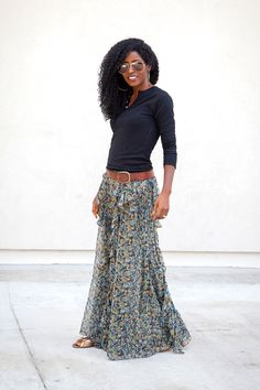 Layering a shirt over an old spaghetti-strap maxi dress gives it a whole new look.