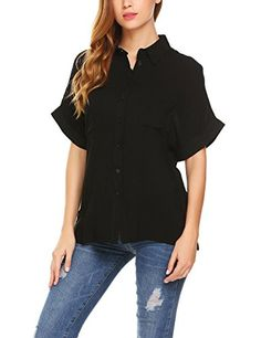 2c63815d3a9 Women's Loose Pocket Style Short Sleeve Button Down Solid Blouse Tee Shirt