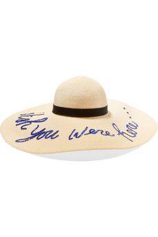 Eugenia Kim | Honey faux leather-trimmed straw sunhat | NET-A-PORTER.COM