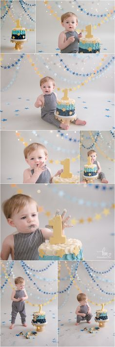 star themed 1st birthday party - blue and gold cake smash for boy