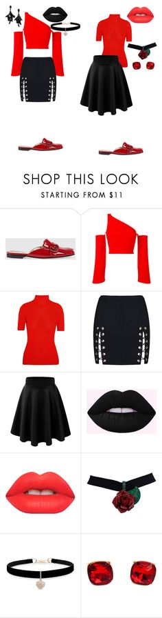 """""""Untitled #156"""" by river-sayde ❤ liked on Polyvore featuring Gucci, Thierry Mugler, Victoria Beckham, Lime Crime, Betsey Johnson and Oscar de la Renta"""