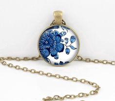 Delft China Porcelain Blue and White Pendant Necklace or Key Ring