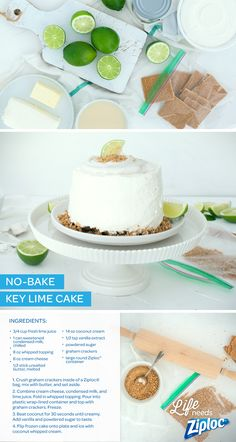 The perfect end-of-summer treat. Sweet and tangy lime, crunchy graham cracker crust, and no baking required. This no-bake, Key Lime freezer cake is so easy. Make it right inside of a Large Round Ziploc® container. Tip: line the container with plastic wrap before filling. It will be easier to remove the cake once it freezes.