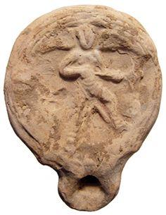 Eastern Mediterranean oil lamp, 2nd century AD, imitating a Roman type - has gladiator