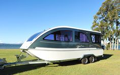 Welcome to the CaraBoat website. The CaraBoat is a trailerable houseboat built in the beautiful Port Stephens, NSW. It is both a caravan and a boat.