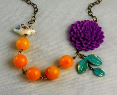 Isis  Purple Flower Vintage Patina Leaf Orange by ManoCelebrates, $30.00