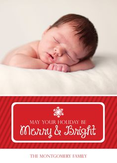 May Your Holiday Be Merry & Bright Red Striped Photo Holiday Card. Available for purchase/customization at www.etsy.com/shop/simplypaperdesigns