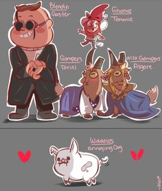 chibiirose: UNDERFALLS! there were so many combinations I could have done but I based them most from personality.This was fun! The one with Gompers was just for laughs :P