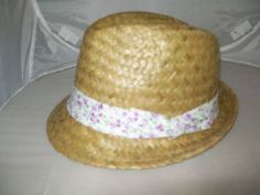 LADIES NATURAL STRAW TRILBY HAT with purple floral band.57CM MED. fast post on eBay!