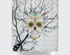 Watercolor Flower Skull Shower Curtain Skull by TheRekindledPage