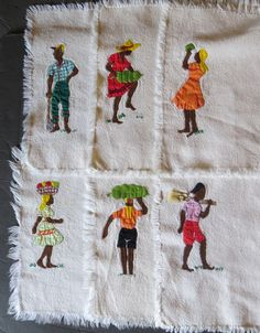 1950s Jamaican Appliqued and Embroidered Placemats on Etsy, $24.00