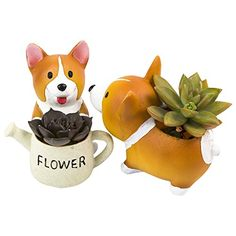 SUN-E Lovely Corgi Dog Shaped Plant Decor Succulent Plants Decorative Flower Pot 2 In Set  Material:Resin,durable and waterproof;Package content:2pcs*planter  Size:14.5×8×10cm Planting space: 4×4.5×5cm  Realistic shape and fine workmanship, essential for micro landscape DIY landscaping  Gardening props, suitable for decorative gardening,desk,bookshelf,dinning table,living room,hosting room and everywhere  Decorations and plants are not included