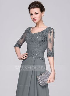 A-Line/Princess Scoop Neck Floor-Length Ruffle Beading Appliques Lace Sequins Zipper Up Sleeves 1/2 Sleeves No 2015 Other Colors Spring Summer Fall Winter General Plus Chiffon Mother of the Bride Dress
