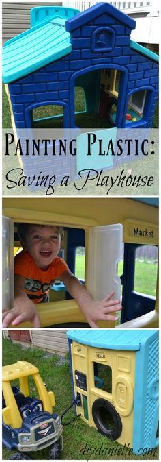 How to paint a plastic playhouse to customize it. A simple paint job saved this one from a landfill! (How To Paint Plastic) Little Tikes Playhouse, Toddler Playhouse, Kids Indoor Playhouse, Outside Playhouse, Playhouse Kits, Simple Playhouse, Outdoor Playhouses, Indoor Playground, Kids Plastic Playhouse