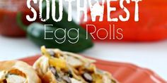 Baked Southwest Egg Rolls - Six Sisters Stuff Meat Recipes, Asian Recipes, Snack Recipes, Cooking Recipes, Healthy Recipes, Snacks, Healthy Food, Southwest Egg Rolls, Baking Items