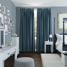 Dupioni Faux Silk Teal Curtains