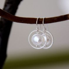 freshwater pearl and sterling silver earrings...coin pearl earrings with sterling silver ring by Jersica