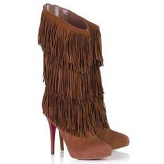 Trendy High Heels For Ladies : NEW Chirstian Louboutin Forever Tina Fringe Suede Magenta Purple Boots Purple Love, All Things Purple, Shades Of Purple, Purple Stuff, Magenta, New Mode, Purple Boots, Purple Suede, Purple Heels