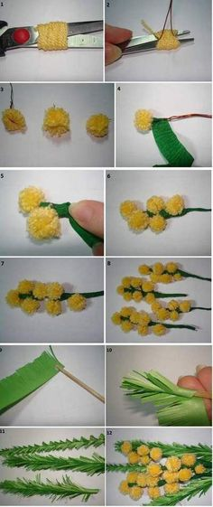 mimose do da te 3 pon pon - DIY Crafts Home Decor Pom Pom Crafts, Flower Crafts, Yarn Crafts, Felt Crafts, Flower Art, Paper Crafts, Tissue Paper Flowers, Felt Flowers, Diy Flowers
