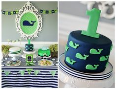 "I have a love of all things nautical and striped, so I thought doing a ""boy"" preppy whale party would be so much fun!"
