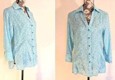 "Womens Size Large Blouse Grand Greene Top Teal Seafoam Button Front Long Sleeve ""Cute with a White Lace Top Tank/Cami underneath""  #GrandGreene #Blouse #Casual"