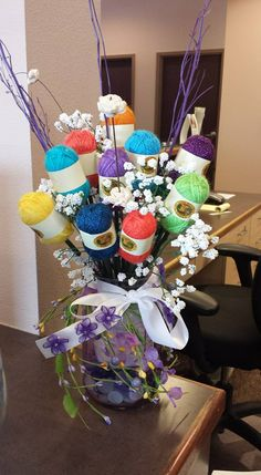 A birthday bouquet for a knitter! (Photo credit Heather D Alling) A birthday bouquet for a knitter! (Photo credit Heather D Alling) The post A birthday bouquet for a knitter! (Photo credit Heather D Alling) appeared first on Mattie Christian. Christmas Gifts For Grandma, Grandma Gifts, Diy Christmas Gifts, Holiday Gifts, Crochet Christmas, Handmade Christmas, Valentine Gifts, Raffle Baskets, Diy Gift Baskets