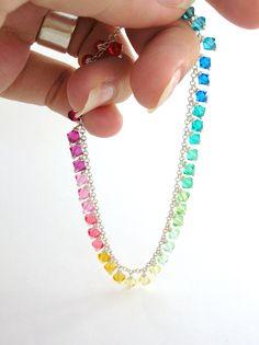 Swarovski Crystal Bracelet rainbow jewelry in by bluebirdss, $45.00