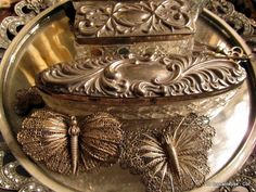 french silver dresser set
