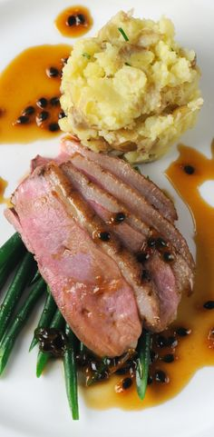 Duck breast with passion fruit sauce and crushed new potatoes - Marcello Tully