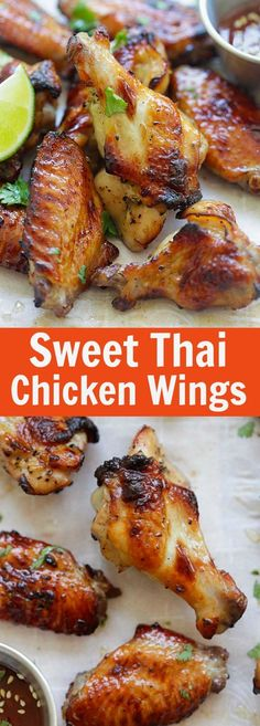 Sweet Thai Chicken Wings - perfectly grilled chicken wings with sweet Thai seasoning. Crazy delicious wings you can't stop eating. Grilled Chicken Wings, Grilled Chicken Recipes, Chicken Wing Recipes, Thai Chicken Marinade, Thai Chicken Wings Recipe, Asian Chicken Wings, Mexican Chicken, Easy Asian Recipes, Easy Delicious Recipes