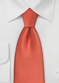 Extra Long Mens Tie in Dark Coral Red - Get your wardrobe ready for fall with this autumn hued orange necktie. The dark coral color of this tie pairs best with suits in navy, Coral Tie, Orange Tie, Mens Ties Crafts, Groomsmen Accessories, Orange Wedding Colors, Stylish Mens Fashion, Men's Fashion, Groomsmen Ties, Shades Of Peach