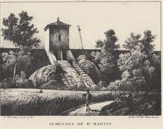 Grabado. La gran muralla sobre el Jalón por la que pasa el Canal y la Almenara de San Martín (1833). Grabato. A gran muralla sopre lo Xalón por la que ba lo Canal  y l´Almenara de San Martín (1833)