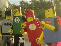 The Justice Lego League of America Saving the World, One Lego Block at a Time.: This is my entry to the video category of Instructable's Halloween Contest! The Justice League, unite! Epic Costumes, Group Halloween Costumes, Costume Ideas, Creative Costumes, Halloween Outfits, Lego Fancy Dress, Lego Justice League, Lego Man, Lego Guys