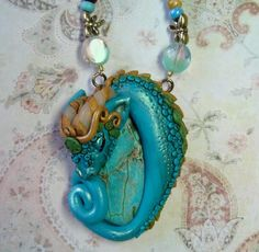 Zielle turquoise polymer clay fairy dragon on by ElvenElysium, $80.00