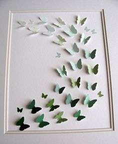 paint chip butterflies. I made something like this but used magazines and punched the shapes out. Looks so cool.