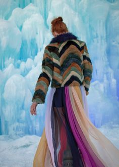 The Red Hand Ice Castles - Cliche faux fur coat, custom dress, Moon Boots