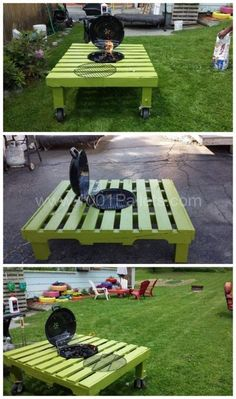 Grill/Fire Pit Table Made Out Of Repurposed Pallet