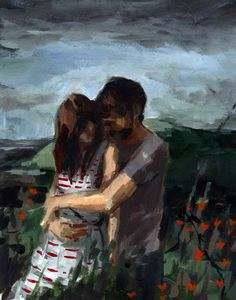 Honeymoon . large art print of couple in landscape painting . 13 x 19 inches. $45.00, via Etsy.