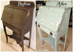 Chippy Paint Antique Secretary Desk before and after