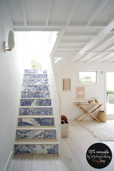 10 Etape escalier contremarche décalque bleu et blanc motif