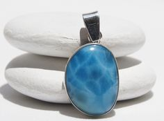 Larimar Pendant, Original And Genuine Handmade Dominican AA+ Marbled Free Shape Larimar Stone .925, Sterling Silver Pendant Jewelry by DominicanArts on Etsy