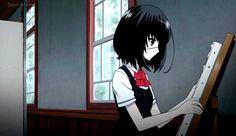 Another // Anime gif discovered by xαleчrα on We Heart It Another Misaki Mei, Tatami Galaxy, Blood Anime, Horror, Fanart, Another Anime, Angel Of Death, Beautiful Anime Girl, Me Me Me Anime