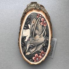 Wood slice with an original drawing of a fennec fox door Inkspirednl