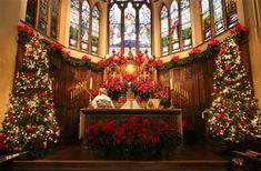 Church Altar at Christmas candles tree glitter sparkle decorate silver church christmas wreath ornament altar