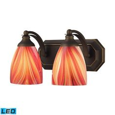 ELK Lighting Bath And Spa 2 Light LED Vanity In Aged Bronze And Multi Glass