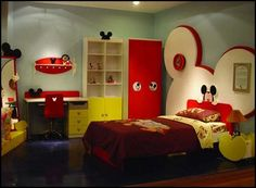 Love the idea of the huge ears as a headboard of sorts.  Super cute room!