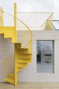 """Architecture Stairs NgLp Designs shares Colours We Love. """"a shabby east London apartment has been given a new lease of life, an upbeat identity and a bright yellow spiral staircase, by the architects. Staircase Architecture, Architecture Design, Minimal Architecture, Architecture Artists, London Architecture, Stair Detail, Exterior Stairs, London Apartment, Studio Apartment"""