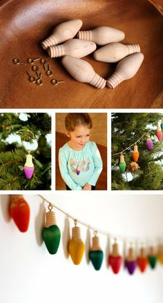 {Rainbow Dip Dyed Christmas Lights} *Love, love, love... How cute is single bulb necklace, too?!?