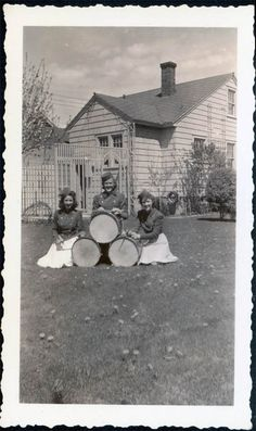 3 Teen Girls Drums Drummers in school band Vintage Photo. Props out to the ladies playing the drums!