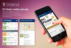 "University of Liverpool's ""PC finder"" mobile app. University Of Liverpool, Mobile Web, Thumbnail Image, Workplace, Signage, Indoor, Teaching, Digital, Beautiful"